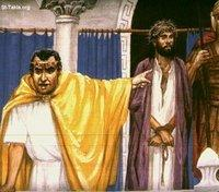 Image: Jesus Trial, In front of Annas, the father in law of Caiaphas صورة يسوع أمام حنان، حما قيافا