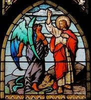 Image: The Temptation of Christ 02 Stained Glass صورة