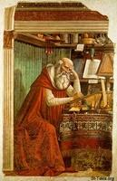 Image: Saint Jerome by Domenico Ghirlandaio 1480 at Church of Ognissanti Florence صورة القديس جيروم، أو القديس إيرونيموس