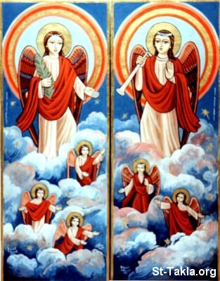 St-Takla.org Image: Coptic icon of Angels, by Bdour Latif and Yosef Nasif ���� �� ���� ������ ����: ���� ������ ����� ���� �������ɡ ��� ���� ���� - ���� ����