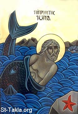 St-Takla.org Image: Coptic Art: Jonah and the Whale ���� �� ���� ������ ����: ����� ������ - �� ���� ������