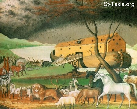 St-Takla.org Image: A painting showing the animals heading to Noah's ark, by Edward Hicks ���� �� ���� ������ ����: ���� ���� ���� ��� �� ��������� - ������ ������ �����