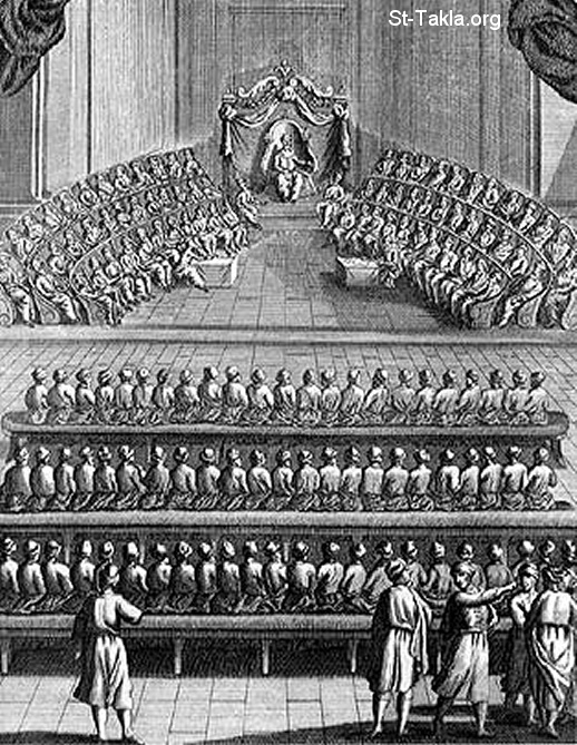 "St-Takla.org           Image: The Jewish Sanhedrim council, and it consists of seventy ""70"" members, headed by the head of the priests, while theie disciples sit at the first two rows (1 Mac 14:28) صورة: مجلس السنهدريم اليهودي، ويتكون من سبعين عضوًا، يرأسهم رئيس الكهنة، بينما في الصفين الأول والثاني تلاميذ أولئك الأعضاء (1 مكا 14: 28)"