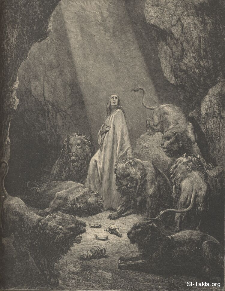 St-Takla.org         Image: Daniel in the lion's den by Gustave Dore ����: ������ ����� �� �� ������ ������ ������ �����