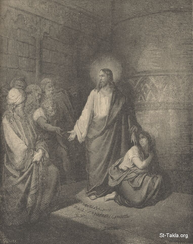 St-Takla.org Image: Gustave Dore's: Jesus and the woman taken in adultery ���� �� ���� ������ ����: ���� �� ��� ������ ������ �����: ���� �� ������ ���� ����� �� ��� �����