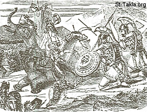St-Takla.org           Image: Use of elephants in battles, maybe showing the elephant that Alizar Machabues killed (1 Mac. 6:43-46) ����: ������ ������� �� ������ߡ ���� ���� ���� ����� ���� ���� ������ ������� (1 ��� 6: 43-46)