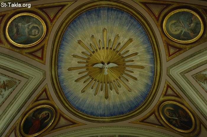 St-Takla.org         Image: The Holy Spirit, engraving at the dome of a church, with the four Evangelists ����: ����� ����ӡ ��� ���� ��� ����ɡ ����� ��� ���������� �������