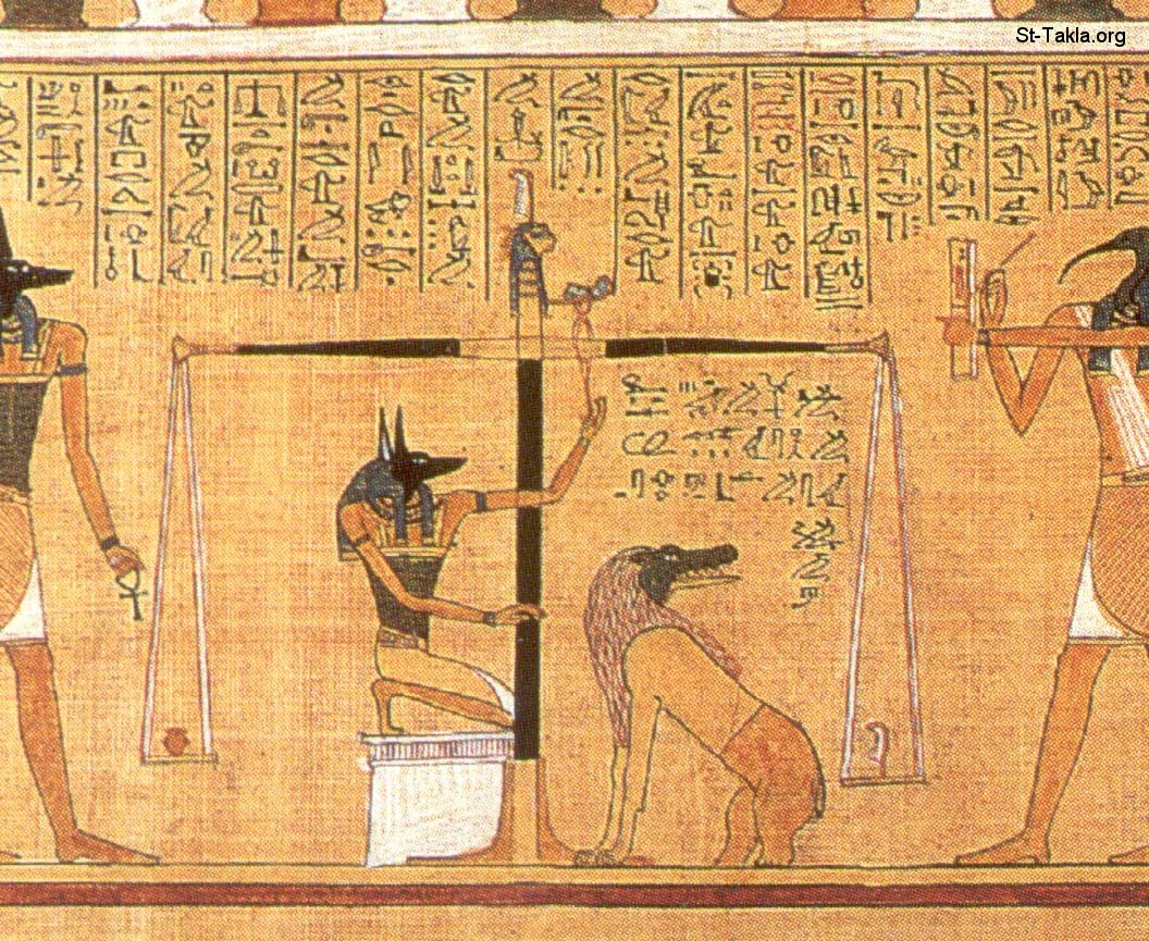 St-Takla.org           Image: Anubis weighing the heart of Hunefer with a feather. Compare with a similar scene in the Papyrus of Ani, ca 1285 bCE ����: ����� ������ ��� ��� ������ѡ �� ���� ����� �� ����� ��� 1285 �. �. - ��� ����� �� ����