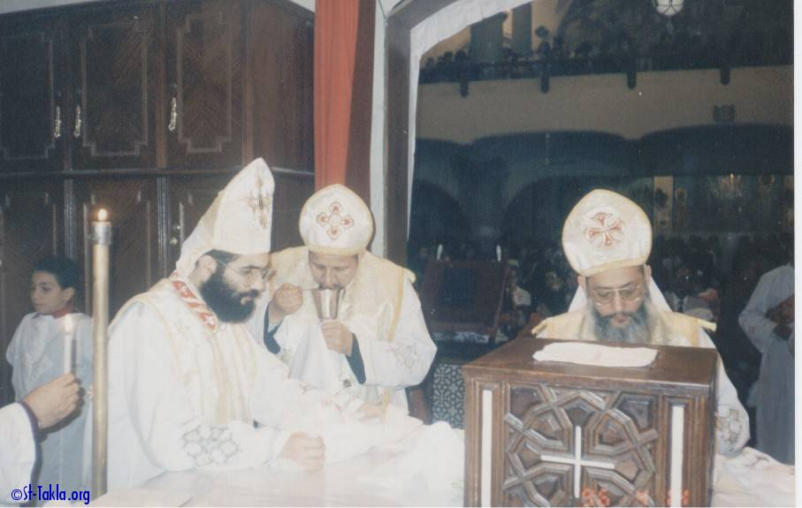 St-Takla.org Image: Coptic Priests of St. Takla Haymanot Church inside the Holy Altar ���� �� ���� ������ ����: ���� ���� ����� ������ ���� ���� ������