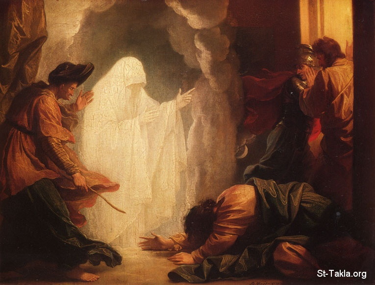 "St-Takla.org         Image: Saul and the Witch of Endor painting, 1777 (woman bringing up the soul of a spirit ""ghost"", but not Samuel), by  Benjamin West (1738�1820) ����: ���� ���� ������ ��� ��ѡ 1977 (������� �� ����� ���� ���ʡ ����� ���� - ���� ��� �� ��� �� ��� ������ ������ �����) - ��� ������ ������� ���� (1738-1820)"