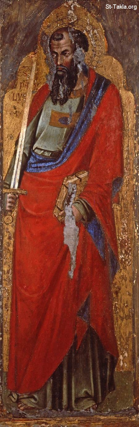 St-Takla.org Image: St Paul - Catarino - Religious Painting Art - 1360s - Tempera on panel, 32 x 95 cm, at the National Gallery of Slovenia, Ljubljana ���� �� ���� ������ ����: ������ ������ ���ӡ ��� �������� ������� �� 1360�  ����� ��� ��� ����� 32�95 �� ������ �� ������ ������ �� �������ǡ ���������