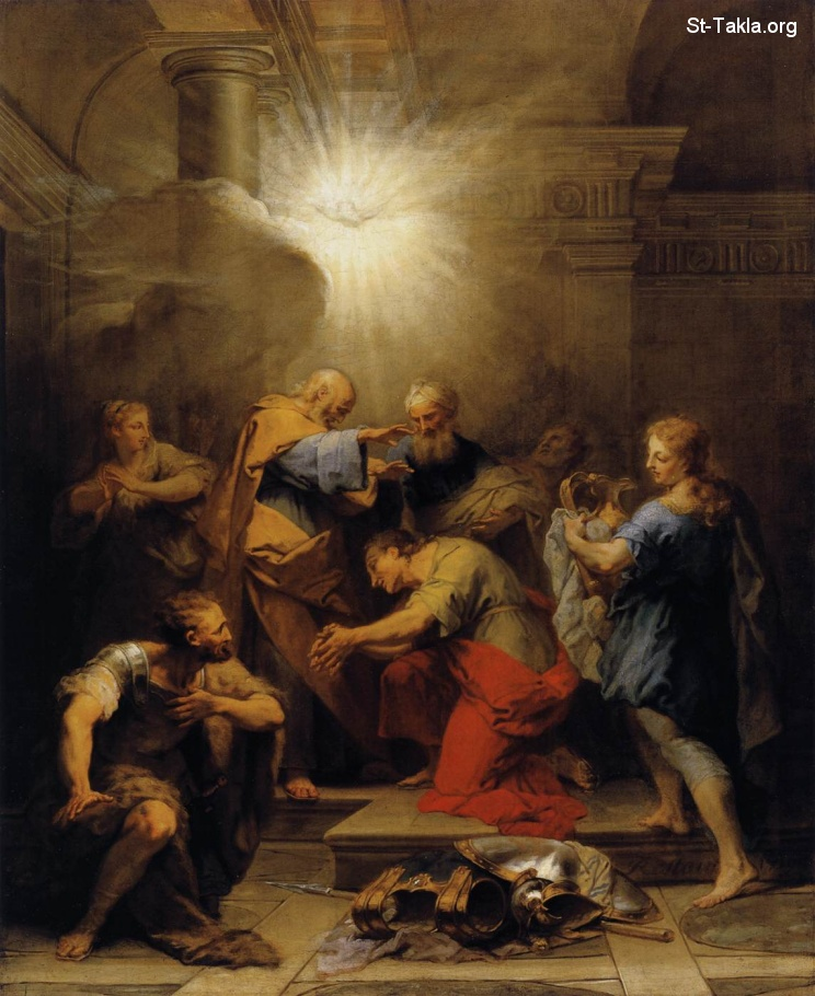 St-Takla.org Image: Ananias Restoring the Sight of St Paul - Jean Ii Restout - Religious Painting Art, 1719, Oil on canvas, 90 x 80 cm, at the Mus�e du Louvre, Paris ���� �� ���� ������ ����: ���� ������ ���� ����� ��� ���� (���� ��������)� ��� ������ ��� �� ����� ��� 1719� ��� ��� ���� ����� 90�80 �� ������ �� ���� �����ѡ �����