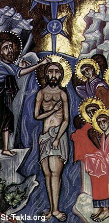St-Takla.org Image: An old icon of the Baptism of Jesus: This is the Lamb of God ���� �� ���� ������ ����: ���� ������� ���� - ���� �����