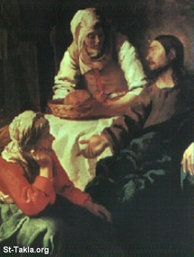St-Takla.org Image: Jesus with Mary and Martha ���� �� ���� ������ ����: ����� ������ �� ���� � ����