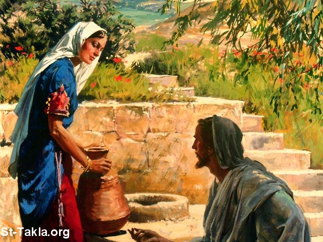 St-Takla.org Image: The Samaritan woman with Jesus ���� �� ���� ������ ����: ������ �������� �� ����