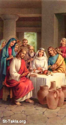 St-Takla.org Image: Jesus Christ, St. Mary: The Marriage of Cana ���� �� ���� ������ ����: ���� ���� ������ ����� �����͡ �������� ����