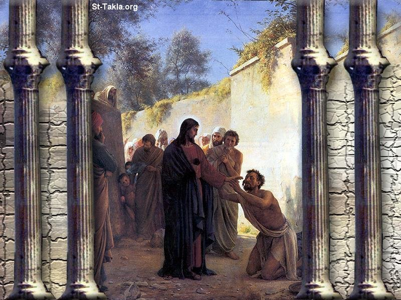 St-Takla.org Image: Miracle of Jesus, healing the born blind ���� �� ���� ������ ����: ���� �� ������ ������ - ���� ������� ����
