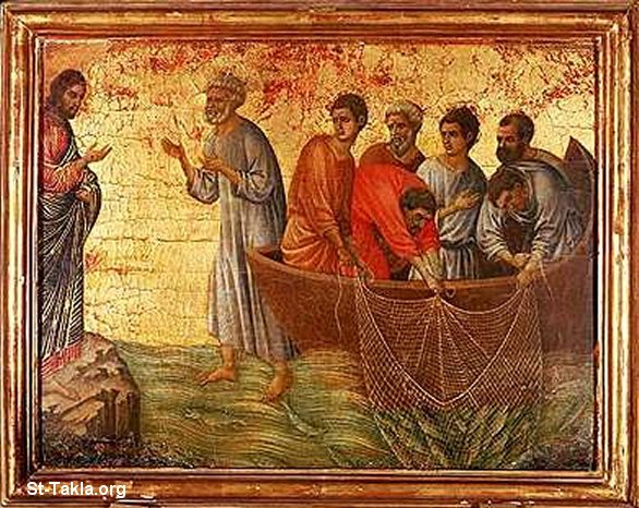 St-Takla.org Image: Miracle of JesusChrist of catching the fish, ancient icon ���� �� ���� ������ ����: ����� ��� ������� ����� �����͡ ������ �����