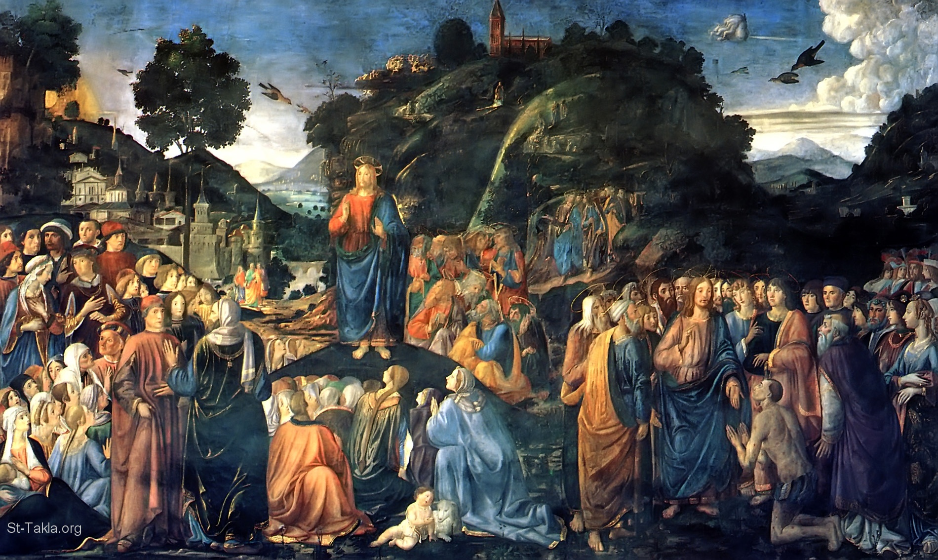 St-Takla.org Image: Painting of Jesus, Sermon on the Mount, and the miracle of Healing of the Leper, by Cosimo Rosselli, 1481 ���� �� ���� ������ ����: ���� ����� ������ �� ������� ��� ����� �� ����� ���� ������� ��� ������ ������ ������ 1481