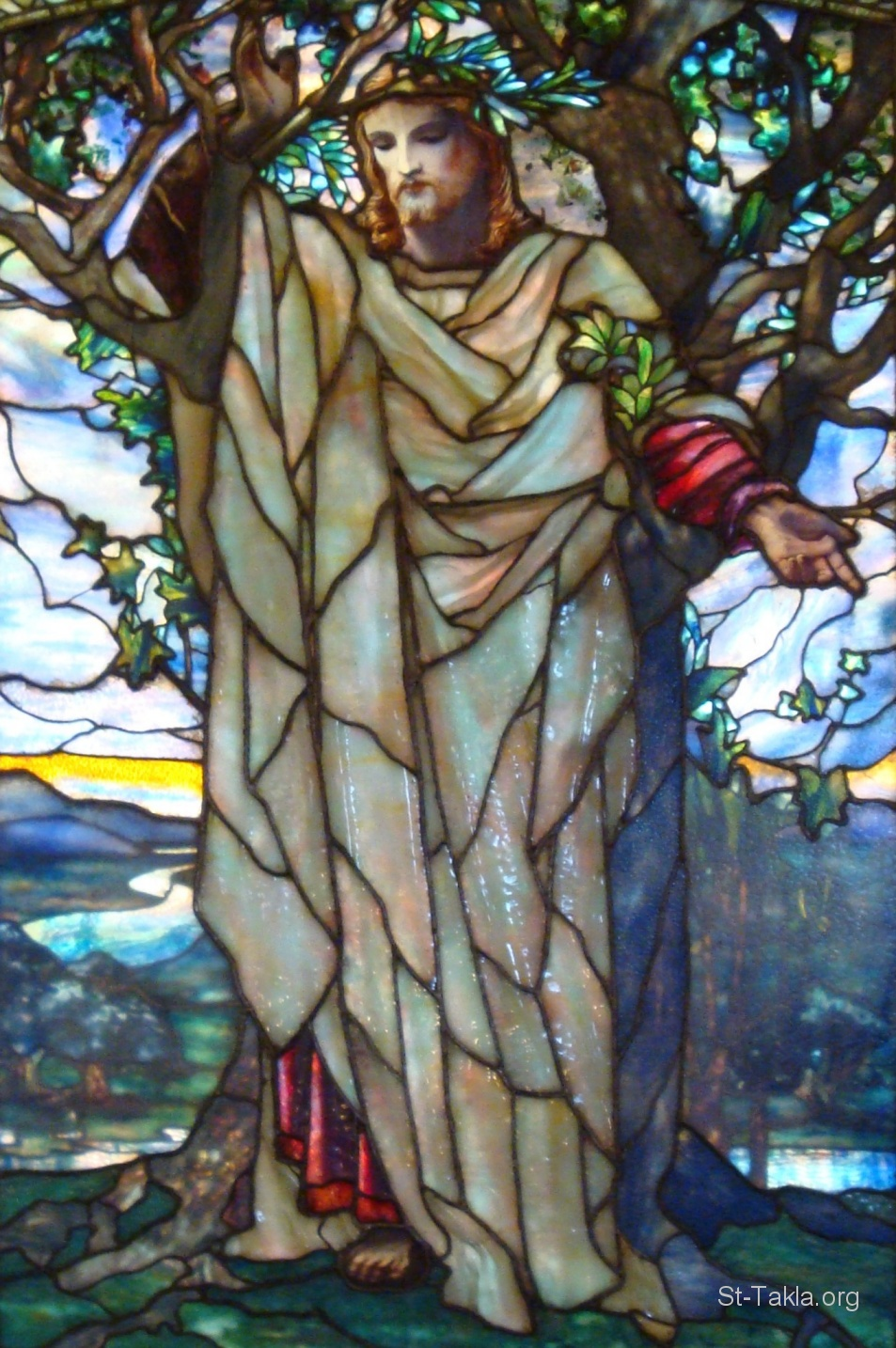 St-Takla.org Image: Detail of stained glass window created by Louis Comfort Tiffany in Arlington Street