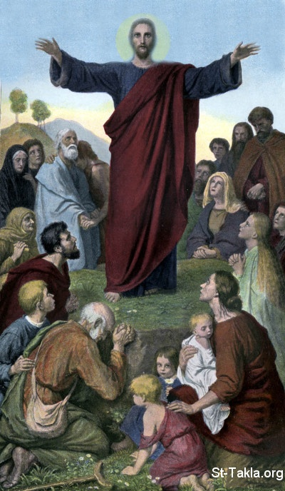 St-Takla.org Image: Jesus Preaching the Sermon of the Beatitudes, painting ���� �� ���� ������ ����: ���� ����� ������ ��� ����� �� ��� ���������