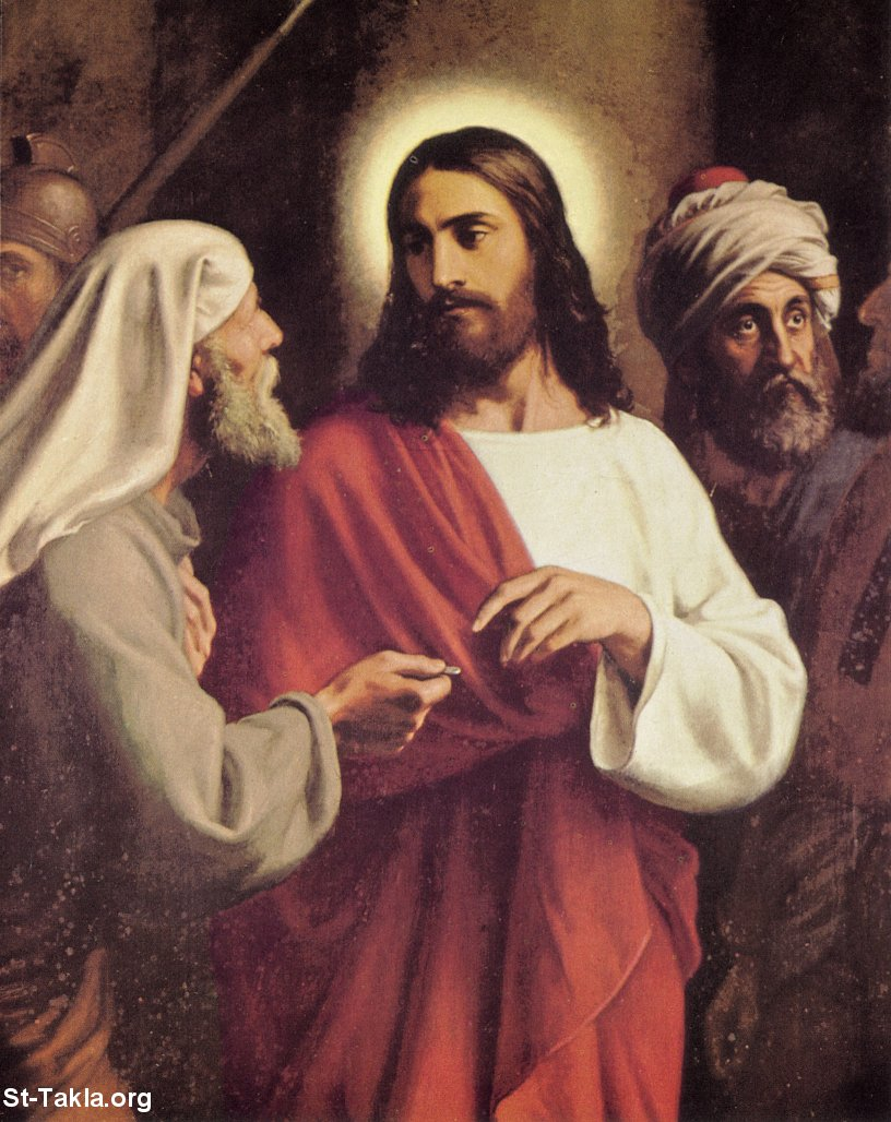 "St-Takla.org Image: Jesus Christ talking to the Pharisees, saying: ""Render therefore to Caesar the things that are Caesar's, and to God the things that are God's"" (Matthew 22:21; Mark 12:17; Luke 20:25) ���� �� ���� ������ ����: ����� ������ ���� ����� �� ��������� ������: ""�������� ����� ��� ���������� ���������� ����� ���� ����"" (����� ��� 22: 21� ����� ���� 12: 17� ����� ���� 20: 25)"