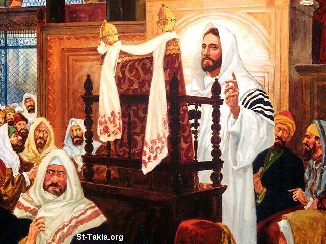 St-Takla.org         Image: Jesus reading the Holy Bible and preaching in the Holy Temple ����: ������ ���� ������ ������ ���� �� ������