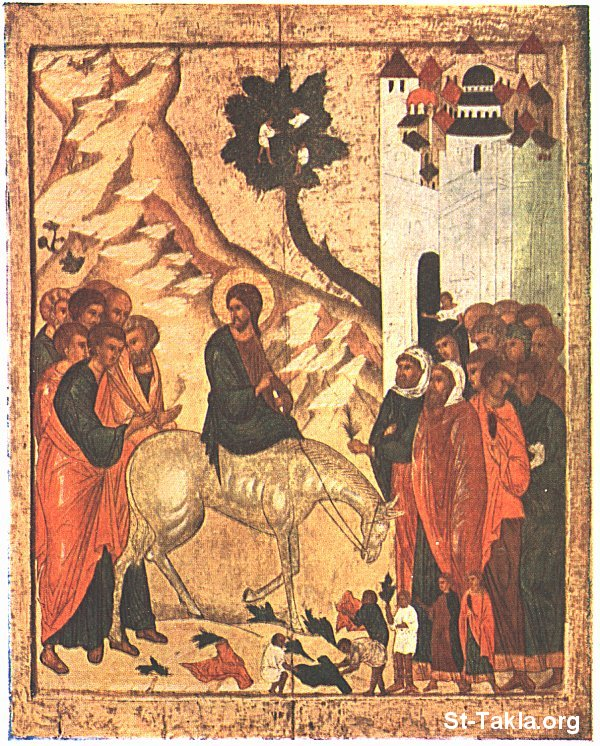 St-Takla.org Image: An old icon of the Palm Sunday ���� �� ���� ������ ����: ����� ��� ��� ��� ��������