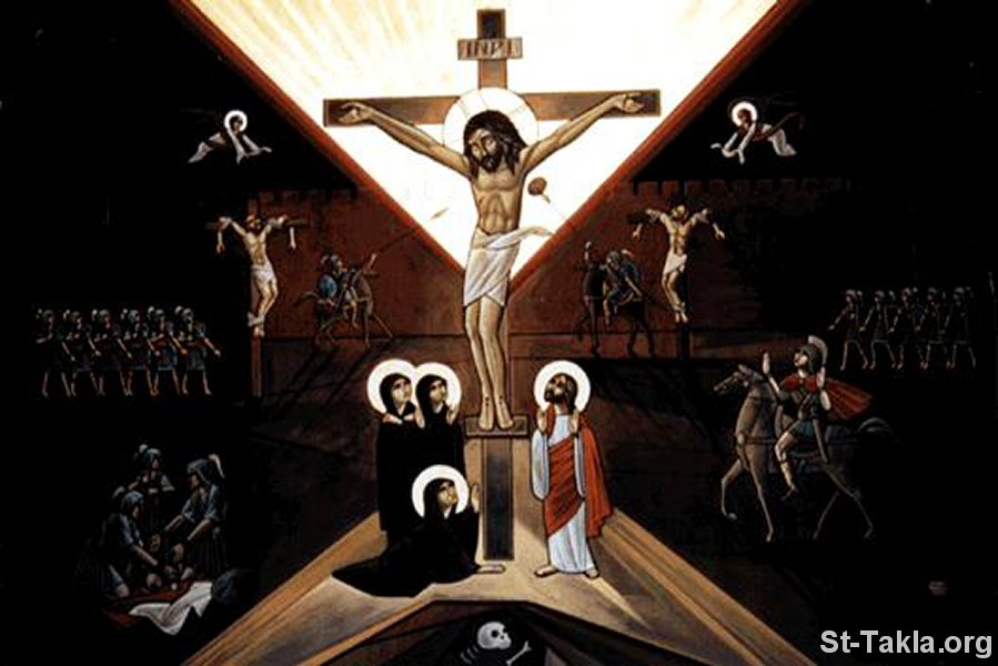 St-Takla.org Image: Modern Coptic icon showing the Crucifixion of Jesus dans images sacrée www-St-Takla-org___Jesus-Crucifixion-08
