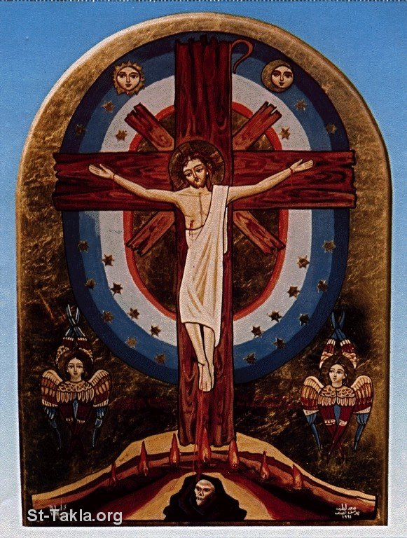 St-Takla.org Image: A contemporary Coptic icon of Jesus Christ on the Holy Cross ���� �� ���� ������ ����: ���� ����� ����� ��� ����� ������ ��� ������