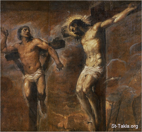 St-Takla.org         Image: Old painting of Jesus on the Cross with the right good thief ����: ���� ����� ���� ����� ������ ��� ������ ����� �� ���� ������