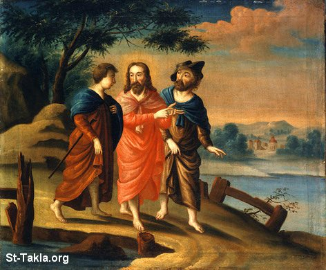 St-Takla.org Image: Road to Emmaus painting, with Jesus Christ ���� �� ���� ������ ����: ���� ������ ��� ����� �� ����� ������