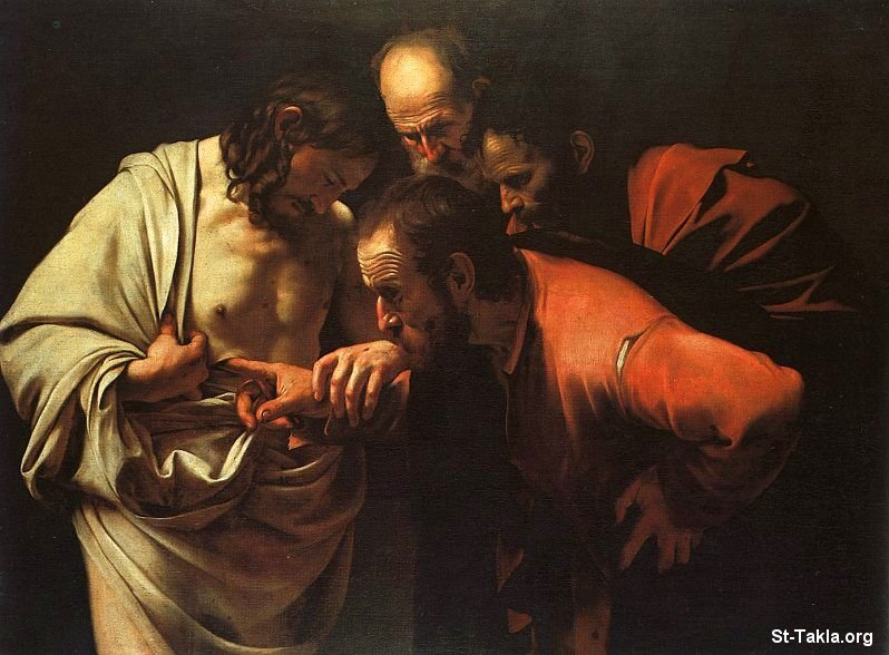 St-Takla.org           Image: Painting: The Incredulity of Saint Thomas by Caravaggio (Michelangelo Merisi da Caravaggio), 1601-02, Oil on canvas, 107 cm � 146 cm, in the Sanssouci of Potsdam, Germany ����: ���� ������ ���������� ������ �� ��������� ��� 1601-02� �� ���ǡ ��� ��� ���� ����� 107�146 �� ������ �� ��� ������� ������� �������