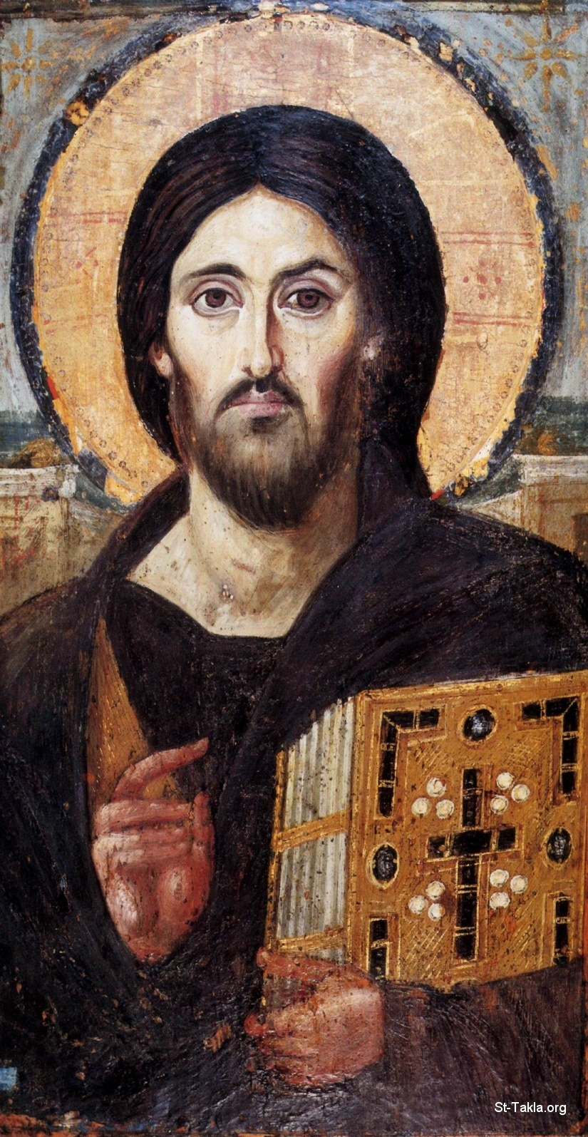 St-Takla.org Image: The oldest known icon of Christ Pantocrator, encaustic on panel (Sinai, Egypt, Saint Catherine's Monastery) ���� �� ���� ������ ����: ���� ������ �� ������ ���� ����� ������ ������ ���� ������ ����� ����ɡ ��ѡ ��� ���� ������ �����