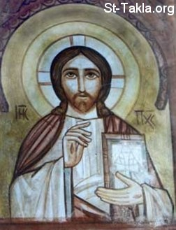 St-Takla.org Image: Jesus Christ Pantocrator, a Coptic fresco from St. Bishoy Monastery, El Natroun Valley, Egypt ���� �� ���� ������ ����: ������ ������ ����� ����� ������ ������������� ��� ���� ��� ������ ����� - ���� ������� - ���