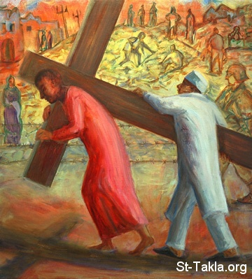 St-Takla.org Image: A man carrying the Holy Cross with Jesus like Simon Of Kairawan ���� �� ���� ������ ����: ��� ���� ������ �� ������ ����� ��� ����� ���������