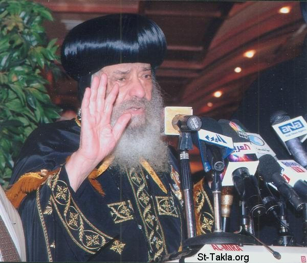 St-Takla.org Image: His Holiness Pope Shenouda III in a press conference ���� �� ���� ������ ����: ����� ������ ����� ������ ���� ���������� ������� ������� �������� �� ���� ����