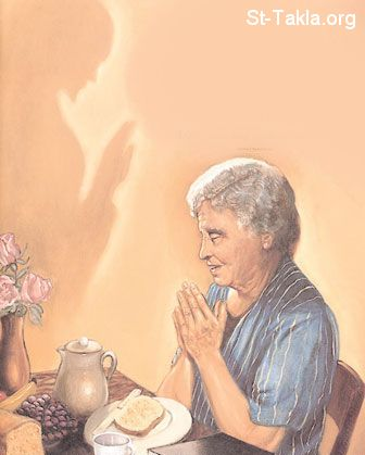 St-Takla.org Image: An old woman praying, and Jesus blessing her ���� �� ���� ������ ����: ����� ���� ���� ����� �������