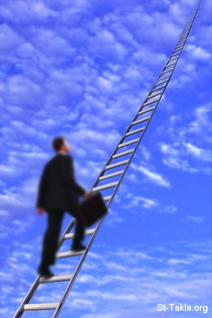St-Takla.org Image: Man ascending to heaven with a ladder ���� �� ���� ������ ����: ��� ���� ������ ��� ���