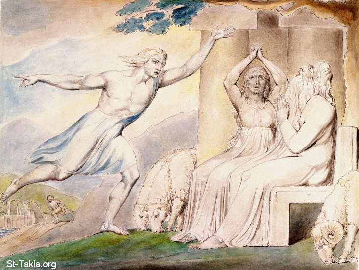 "St-Takla.org         Image: William Blake - Illustrations to the Book of Job, The Butts Set, object 4 (Butlin 550.4) ""The Messengers Tell Job of His Misfortunes"" ����: �� ����� ��������� �� ��� ���� - �� ��� ������ ������ ���� - ������ ���� ���� �� ������� ���� ���� ��"
