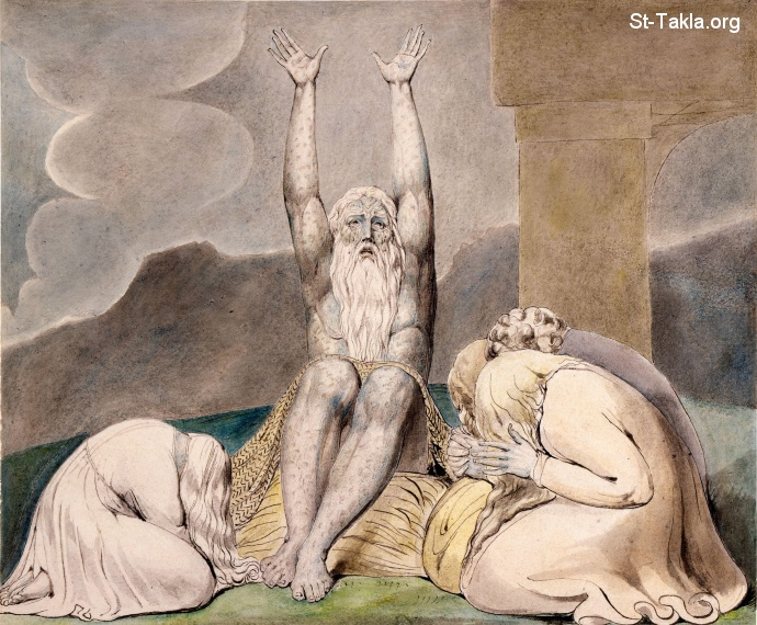 "St-Takla.org         Image: William Blake - Illustrations to the Book of Job, The Butts Set, object 8 (Butlin 550.8) ""Job's Despair"" ����: �� ����� ��������� �� ��� ���� - ��� ������ ���� ���� - ��� ����"