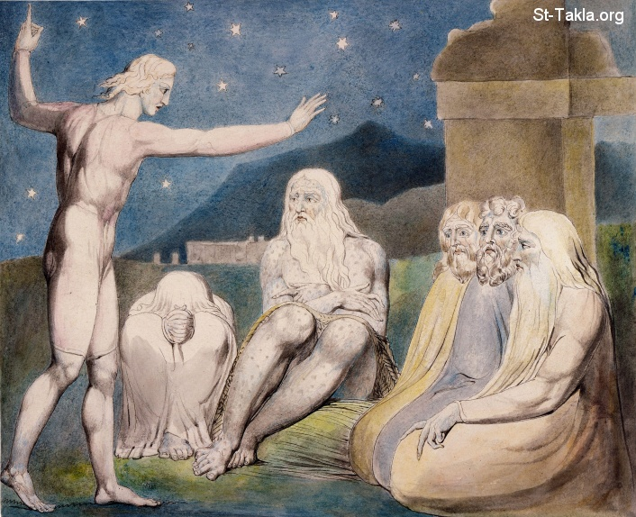"St-Takla.org         Image: William Blake - Illustrations to the Book of Job, The Butts Set, object 12 (Butlin 550.12) ""The Wrath of Elihu"" ����: �� ����� ��������� �� ��� ���� - ��� ������ ���� ���� - ��� �����"