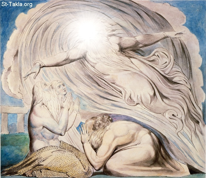 "St-Takla.org         Image: William Blake - Illustrations to the Book of Job, The Butts Set, object 13 (Butlin 550.13) ""The Lord Answering Job out of the Whirlwind""- Job 38 ����: �� ����� ��������� �� ��� ���� - �� ��� ������ ������ ���� - ���� ����� ���� �� ������� - ���� 38"