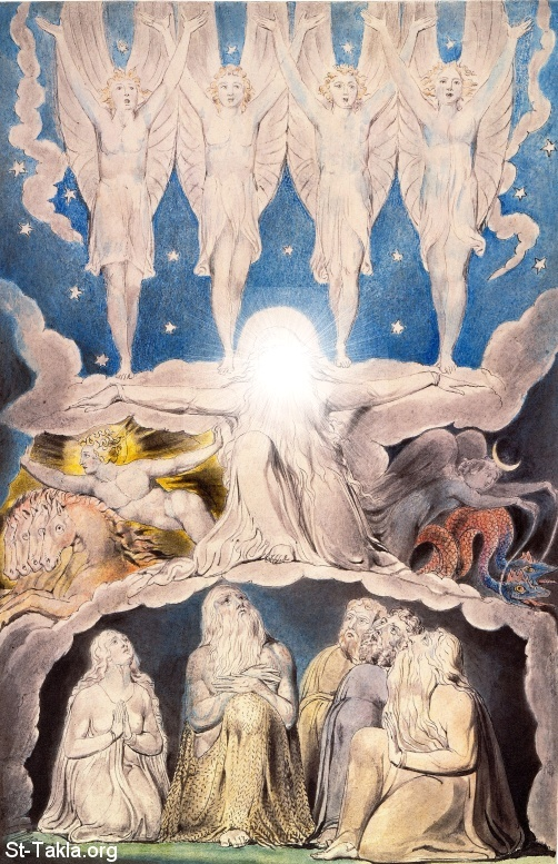 "St-Takla.org         Image: William Blake - Illustrations to the Book of Job, The Butts Set, object 14 (Butlin 550.14) ""When the Morning Stars Sang Together"" ����: �� ����� ��������� �� ��� ���� - ��� ������ ���� ���� - ����� �������� ����� ��� ����� ����"