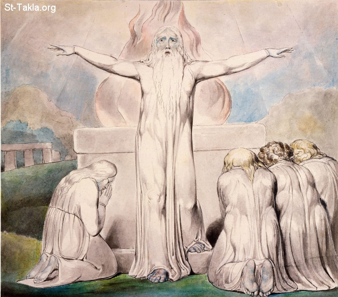 "St-Takla.org         Image: William Blake - Illustrations to the Book of Job, The Butts Set, object 18 (Butlin 550.18) ""Job's Sacrifice"" صورة: ذبيحة أيوب  عن أصدقائه"