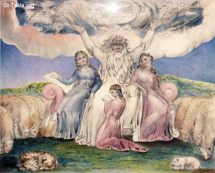 "St-Takla.org         Image: William Blake - Illustrations to the Book of Job, The Butts Set, object 20 (Butlin 550.20) ""Job and His Daughters"" ����: �� ����� ��������� ���� ���� - ������ ������ ���� - ���� � �����"