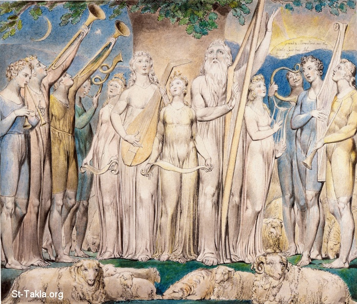 "St-Takla.org         Image: William Blake - Illustrations to the Book of Job, The Butts Set, object 21 (Butlin 550.21) ""Job and His Family Restored to Prosperity"" ����: �� ����� ��������� �� ��� ���� - �� ��� ������ ������ ���� - ���� ������� �������� ������"