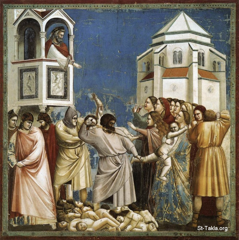 St-Takla.org Image: No. 21 Scenes from the Life of Christ: 5. Massacre of the Innocents (Murder and killing of the children and babies of Bethlehem) - Giotto Di Bondone - Religious Painting Art - 1304-06 - Fresco, 200 x 185 cm, at the Cappella Scrovegni (Arena Chapel), Padua ���� �� ���� ������ ����: ���� ��� ����� ��� ��� (����� ��������)� ��� ������ ���� �� ������� ��� 1304-1306 ������ǡ ��� 21 (5) �� ����� ���� ����� �����͡ ��� ���� ������ ������ (����� ���)� �� ����� ����� (������ ��������)� �����