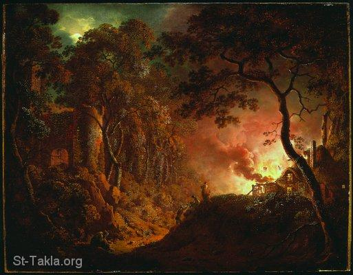St-Takla.org Image: Joseph Wright of Derby, A Cottage on Fire - 1787 ���� �� ���� ������ ����: ���� �� ��� ������ ����� ���� �� ����� - ��� ����� - 1787