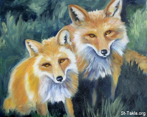St-Takla.org         Image: Little Foxes painting - by Chris Coyle ����: ���� ������� �����ѡ ��� ������ ���� ����